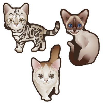 Cute Cats Set of 3 Decals [013]-Animals-Decal Venue