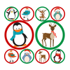 Christmas Reindeer & Penguins Polka Dot Circle Decals | Holidays & Events | DecalVenue.com