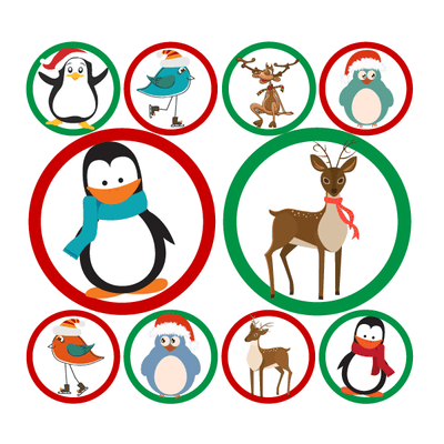 Christmas Reindeer & Penguins Polka Dot Circle Decals-Holidays & Events-Decal Venue