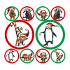 Christmas Penguins & Elves Polka Dot Circle Decals-Holidays & Events-Decal Venue