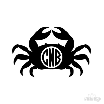 Crab Monogram Initials Decal