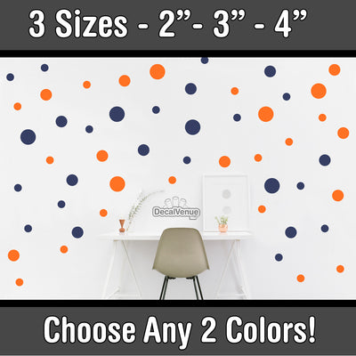 "Custom 2 Color Combo - 2"" 3"" 4"" inch Polka Dot Circles Wall Decals 