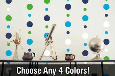 "Custom 4 Color Combo - 2"" and 4"" inch Polka Dot Circles Wall Decals 