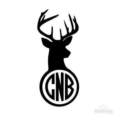 Deer Head Monogram Initials Decal | Custom / Personalized | DecalVenue.com