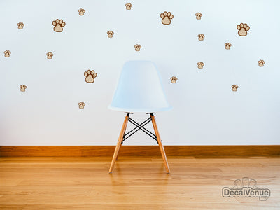 Dog Paw Prints Reusable Wall Decal Stickers