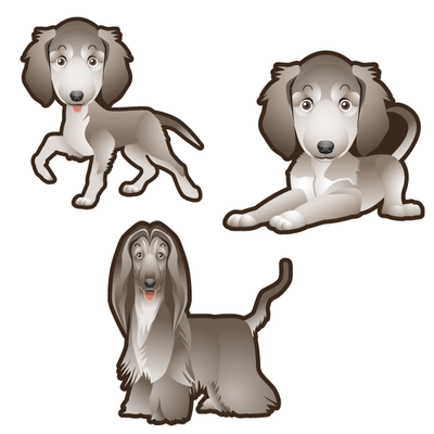 Afghan Hound Dog Set of 3 Decals | Animals | DecalVenue.com