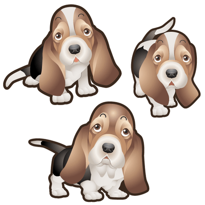 Basset Hound Dog Set of 3 Decals | Animals | DecalVenue.com