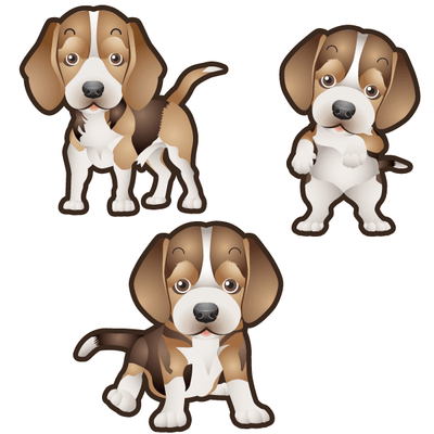 Beagle Dog Set of 3 Decals-Animals-Decal Venue