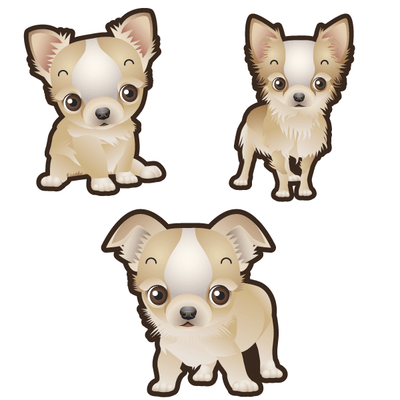 Chihuahua Dog Set of 3 Decals-Animals-Decal Venue