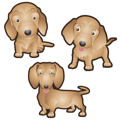 Dachshund Dog Set of 3 Decals-Animals-Decal Venue