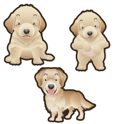 Golden Retriever Dog Set of 3 Decals | Animals | DecalVenue.com