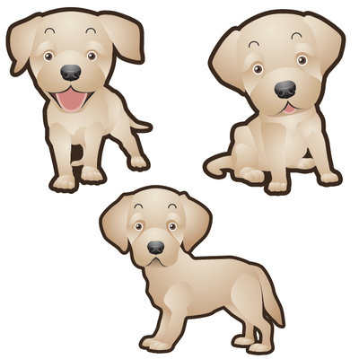 Labrador Retriever Dog Set of 3 Decals-Animals-Decal Venue