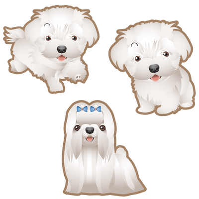 Maltese Dog Set of 3 Decals-Animals-Decal Venue