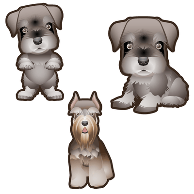 Schnauzer Dog Set of 3 Decals | Animals | DecalVenue.com