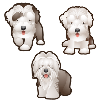 Sheepdog Dog Set of 3 Decals | Animals | DecalVenue.com