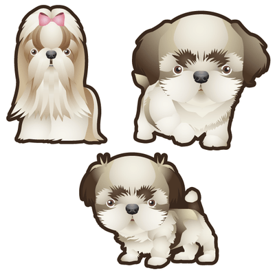 Shih Tzu Dog Set of 3 Decals-Animals-Decal Venue