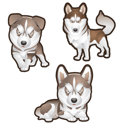 Siberian Husky Dog Set of 3 Decals | Animals | DecalVenue.com