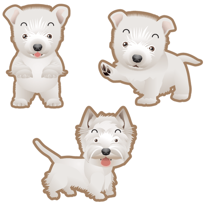 West Highland Terrier Dog Set of 3 Decals | Animals | DecalVenue.com