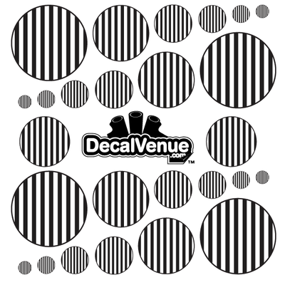 Black and White Stripes Polka Dot Circles Decals