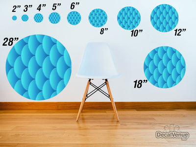 Blue Fish Scales Pattern Polka Dot Circles Reusable Wall Decals