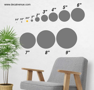 3/4 inch Polka Dot Circles Wall Decals | Polka Dot Circles | DecalVenue.com