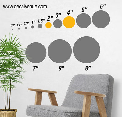 "Custom 8 Color Combo - 2"" and 4"" inch Polka Dot Circles Wall Decals 