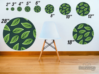 Green Leaves Pattern Polka Dot Circles Reusable Wall Decals | Shapes & Patterns | DecalVenue.com