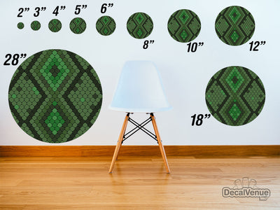 Green Snake Pattern Polka Dot Circles Reusable Wall Decals | Shapes & Patterns | DecalVenue.com