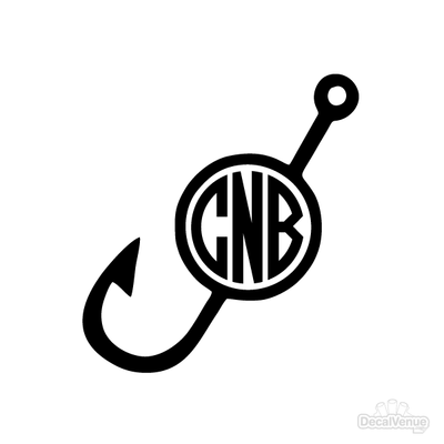 Fishing Hook Monogram Initials Decal | Custom / Personalized | DecalVenue.com