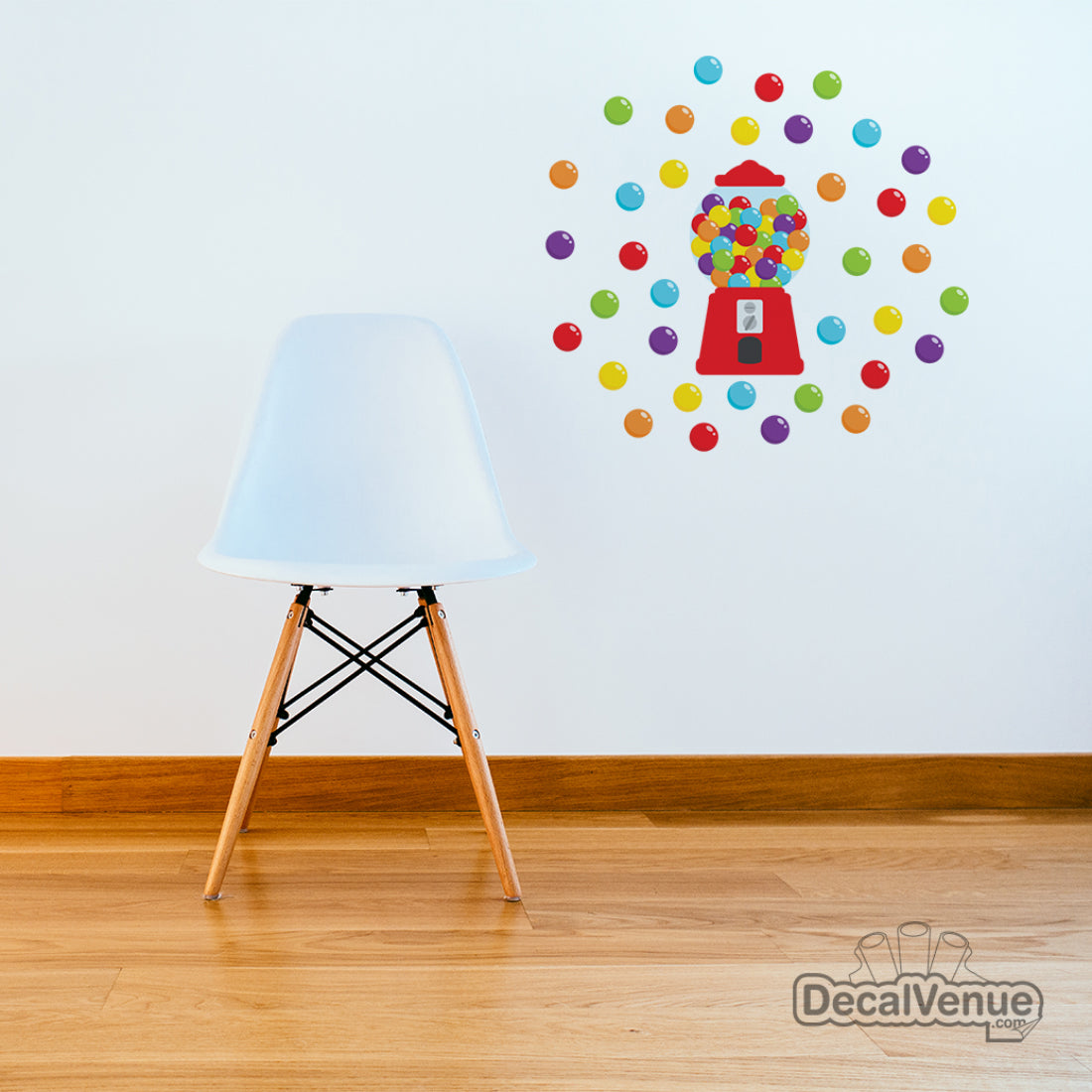 Red Gumball Machine with Polka Dot Circles Reusable Wall Decal Stickers