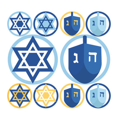 Hanukkah Dreidel & Star of David Circle Decals | Holidays & Events | DecalVenue.com