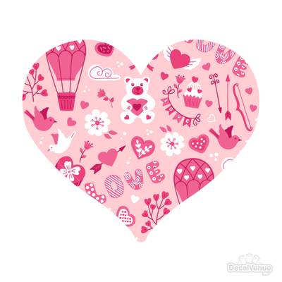 Love Pattern Pink Heart Decals 001 | Shapes & Patterns | DecalVenue.com