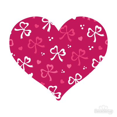 Love Pattern Pink Hearts and Bows Decals 004 | Shapes & Patterns | DecalVenue.com