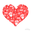 Love Pattern Red Hearts and Flowers Decals 005 | Shapes & Patterns | DecalVenue.com