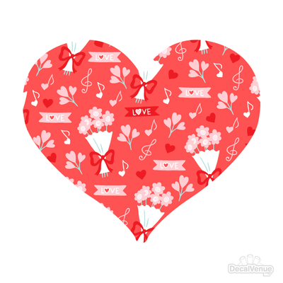 Love Pattern Red Hearts and Flowers Decals 005-Shapes & Patterns-Decal Venue