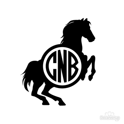 Horse Monogram Initials Decal [002] | Custom / Personalized | DecalVenue.com