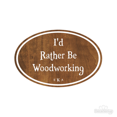 I'd Rather Be Woodworking Monogram Initials Oval Decal | Custom / Personalized | DecalVenue.com