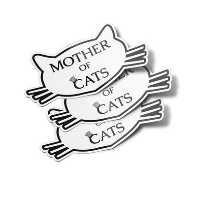 Mother of Cats Vinyl Bumper Sticker Decals (3 Pack)