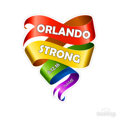 Personalized Orlando Strong Tribute Heart Decal