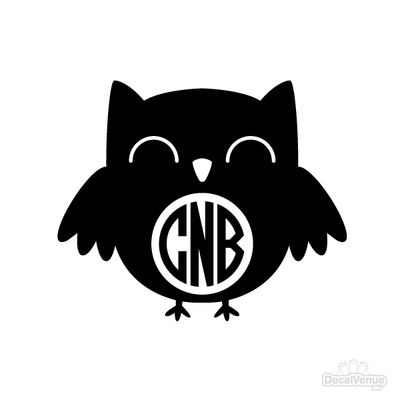 Owl Monogram Initials Decal [002] | Custom / Personalized | DecalVenue.com