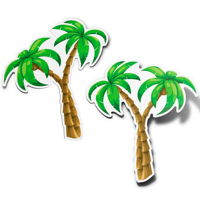 Beautiful Palm Trees Vinyl Bumper Sticker Decals (2 Pack) (Right and Left Facing)