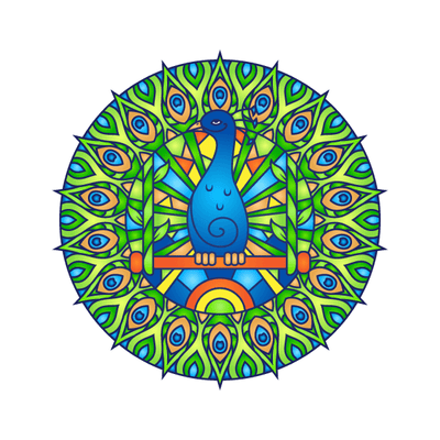 Peacock Mandala Decal-Shapes & Patterns-Decal Venue