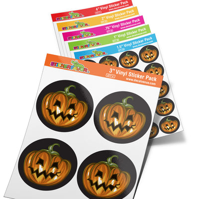StickerFavor® Pumpkin Face Halloween 002 Vinyl Decal Sticker Favors (Qty 103 - assorted sizes) | StickerFavor® | DecalVenue.com