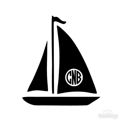 Sailboat Monogram Initials Decal | Custom / Personalized | DecalVenue.com