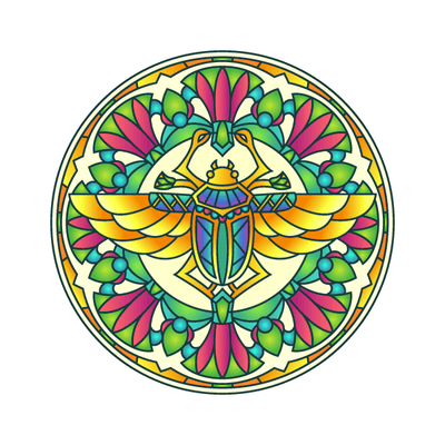 Scarab Beetle Mandala Decal | Shapes & Patterns | DecalVenue.com