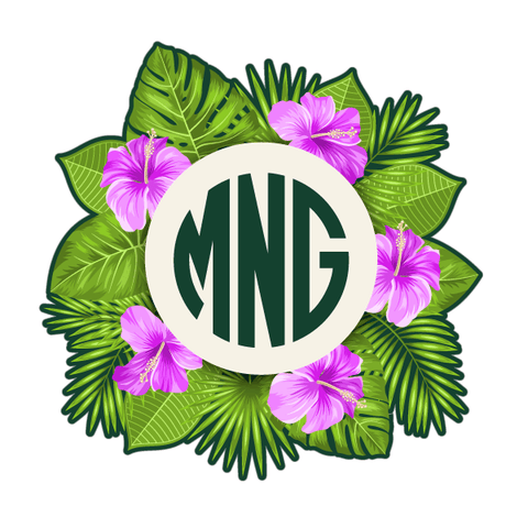 Personalized Tropical Leaves Hibiscus Monogram Initials Decal-Custom / Personalized-Decal Venue