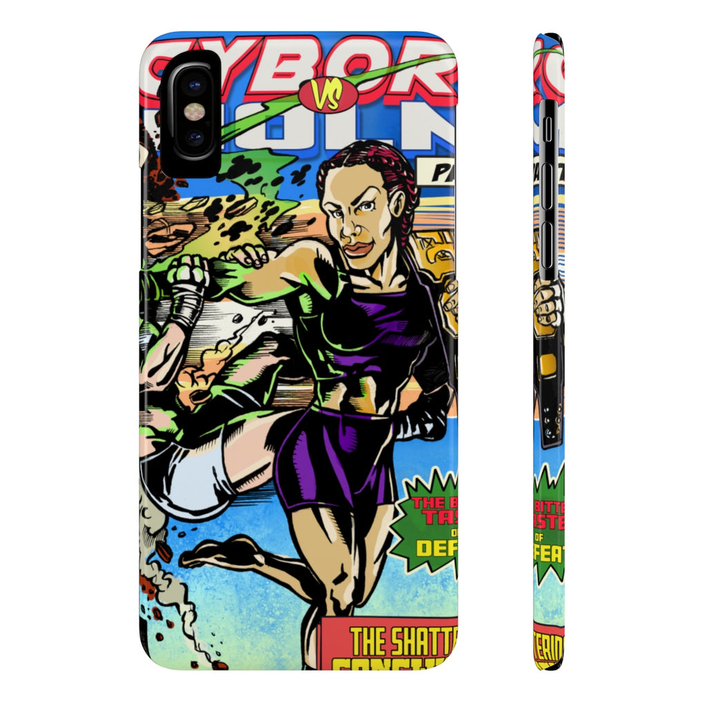Cyborg vs Holm Comic Book Cover - Slim Phone Cases