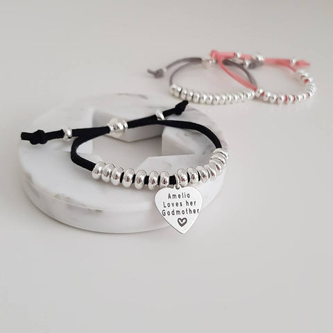 Handwriting Suede Silver Bead Adjustable Personalised Bracelet
