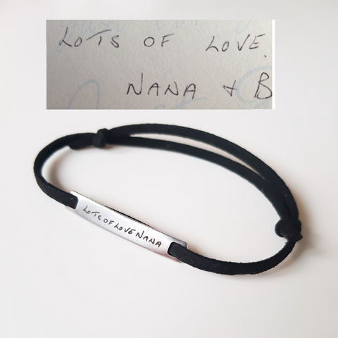 Actual Handwriting Bar Bracelet