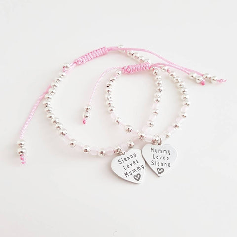 Deluxe Silver & Pink Edition My Mummy & Me Bracelets (Set of 2)